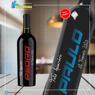 Garrafa de vinho personalizada para Aniversário - GFA04