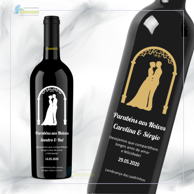 Garrafa de vinho personalizada para Casamento - GCN02a