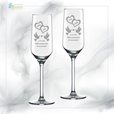 Pack 2 Copos em vidro personalizados - Casamento - CVCN14