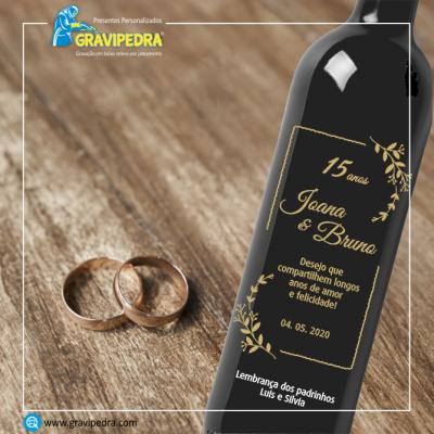 Garrafa de vinho personalizada - Casamento - GCN03