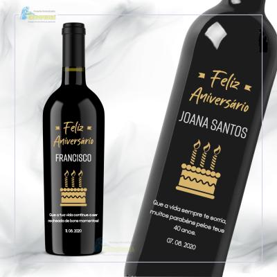 Garrafa de vinho personalizada para Aniversário - GFA18
