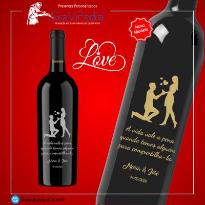Garrafa vinho personalizada para Dia dos Namorados - GV11