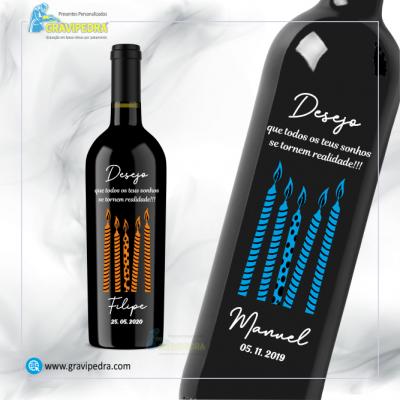 Garrafa de vinho personalizada para Aniversário - GFA59