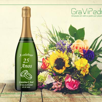 Garrafa de vinho personalizada para Casamento - GCN11