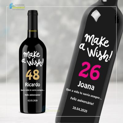 Garrafa de vinho personalizada para Aniversário - GFA53