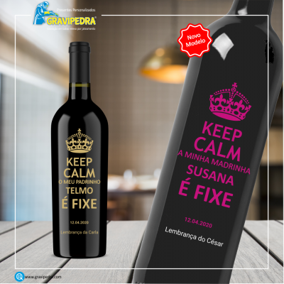 Garrafa de vinho personalizada - Padrinhos - GPDR03