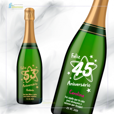Garrafa de vinho personalizada - Aniversário - GFA57