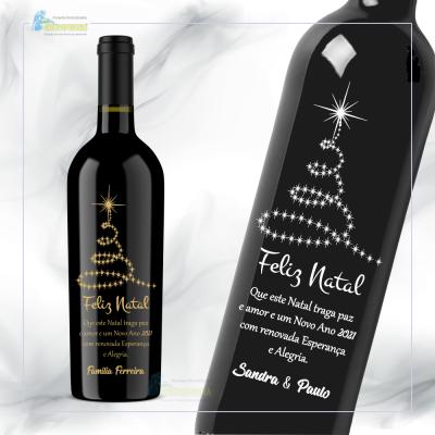 Garrafa de vinho personalizada para Natal/Ano Novo - GNA11