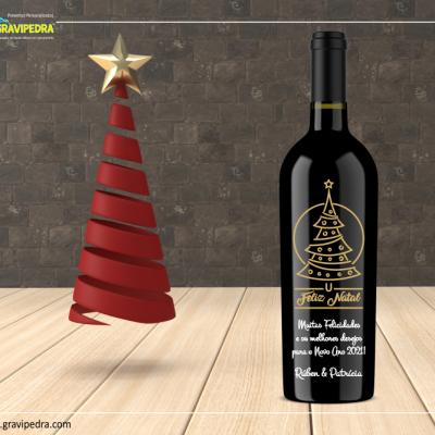 Garrafa de vinho personalizada para Natal/Ano Novo - GNA14