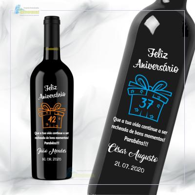 Garrafa de vinho personalizada - Aniversário - GFA50