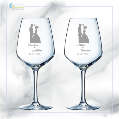 Pack 2 Copos em vidro personalizados - Casamento - CVCN21