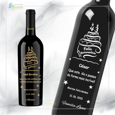 Garrafa de vinho personalizada - Aniversário - GFA39