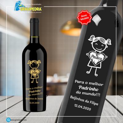 Garrafa de vinho personalizada - Padrinhos - GPDR01