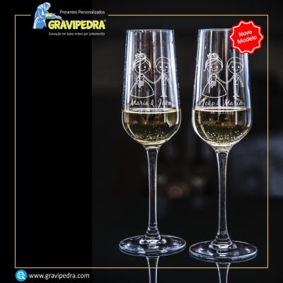 Pack 2 Copos em vidro personalizados - Casamento - CVCND01A