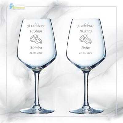Pack 2 Copos em vidro personalizados - Casamento - CVCN11