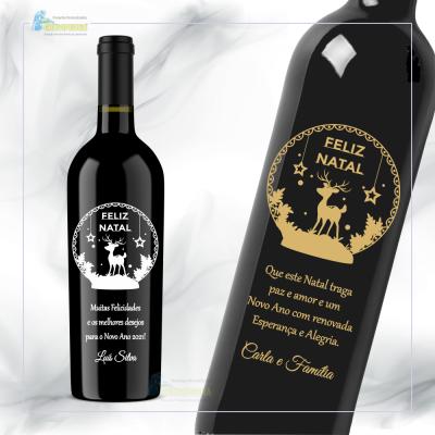 Garrafa de vinho personalizada para Natal/Ano Novo - GNA13
