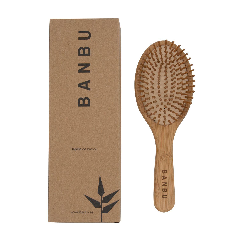 Escova para Cabelo Redonda em Bambu