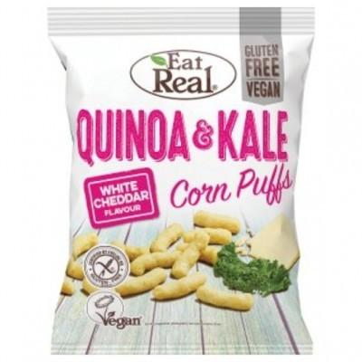 Puffs de Quinoa e Kale c/ sabor a cheddar branco.