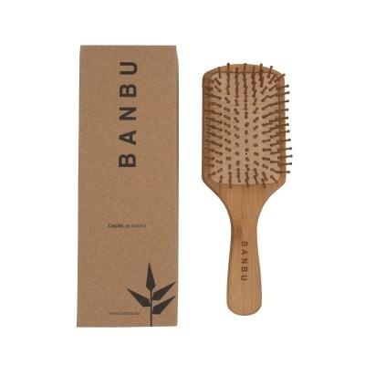 Escova para Cabelo Quadrada em Bambu