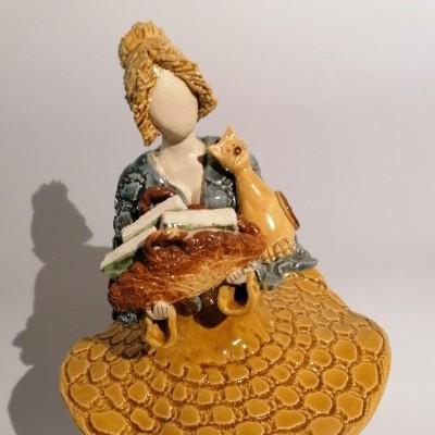 Escultura - Bailarina da Sabedoria com Gato