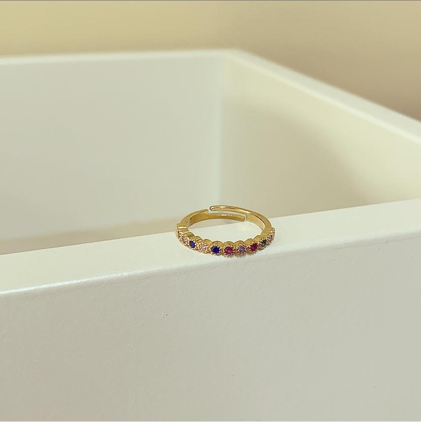 Anel Dourado Círculos Pequenos Coloridos