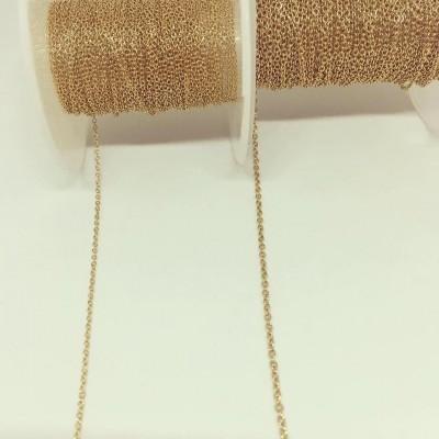 Corrente Dourada em Aço Elos Ovais