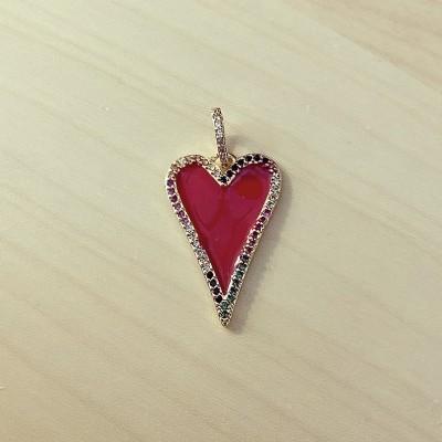 Pendente Coração Vermelho Zircónias