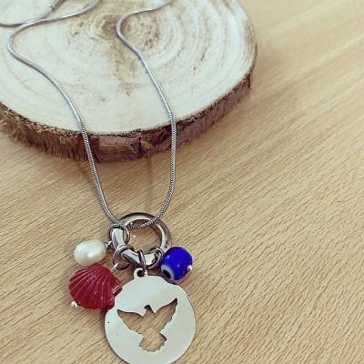 Colar Prateado Espírito Santo e Amuletos