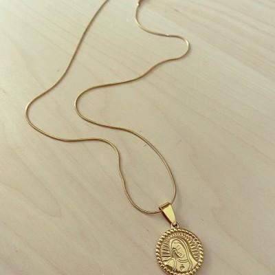 Fio Dourado Medalha Redonda Nossa Senhora