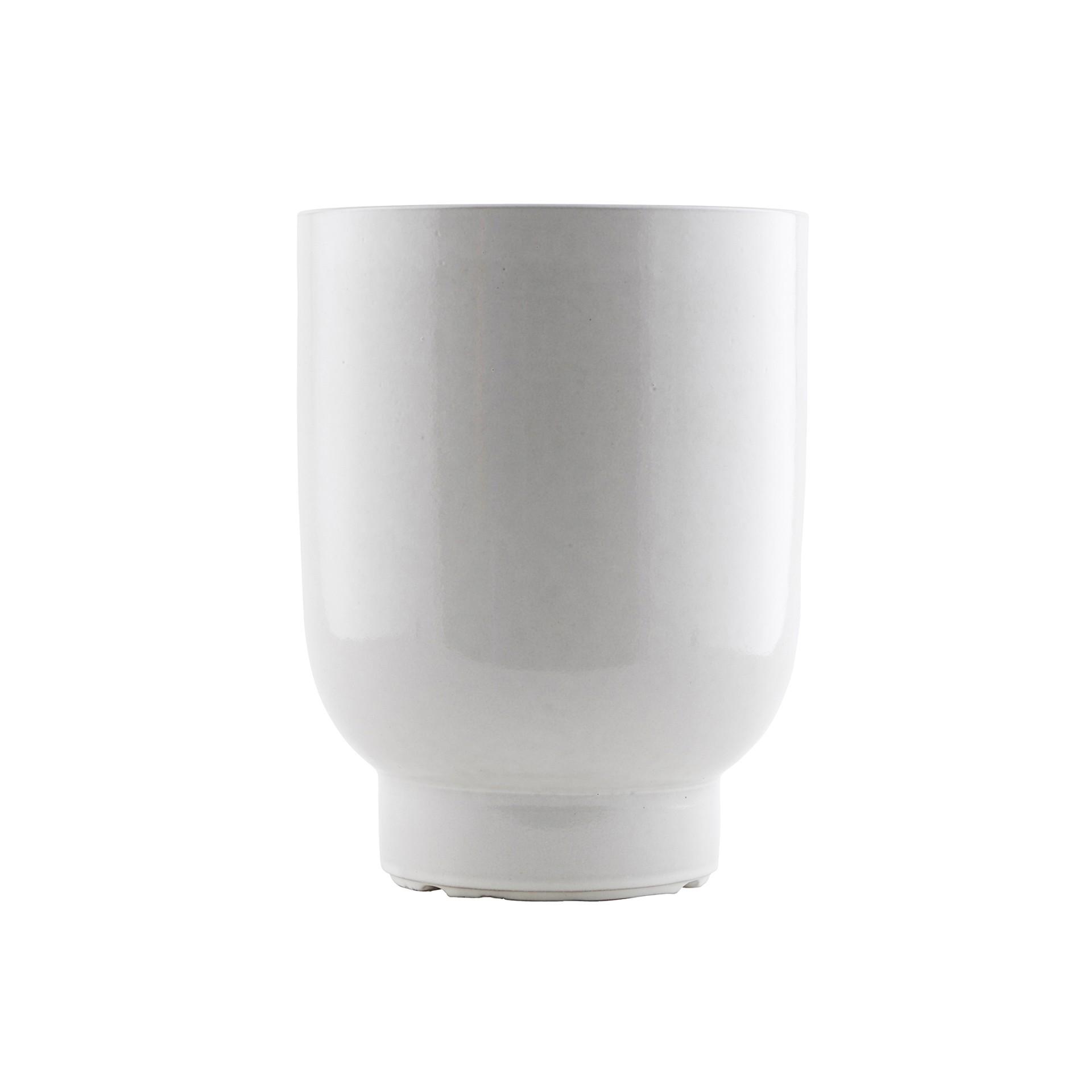 Vaso Plant, cerâmica, branco,  Ø20x26