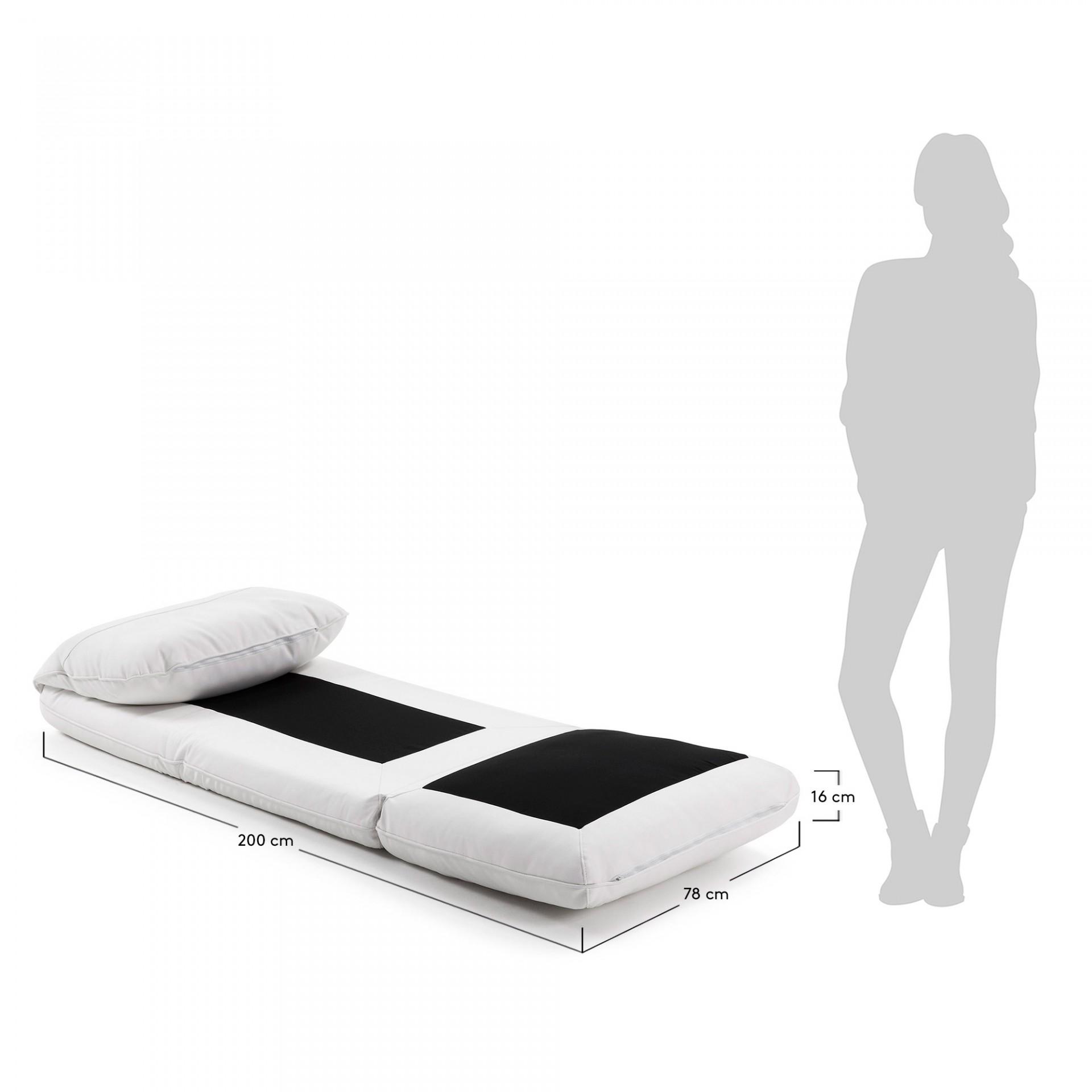 Pufe-cama Mass, pele sintética, branco