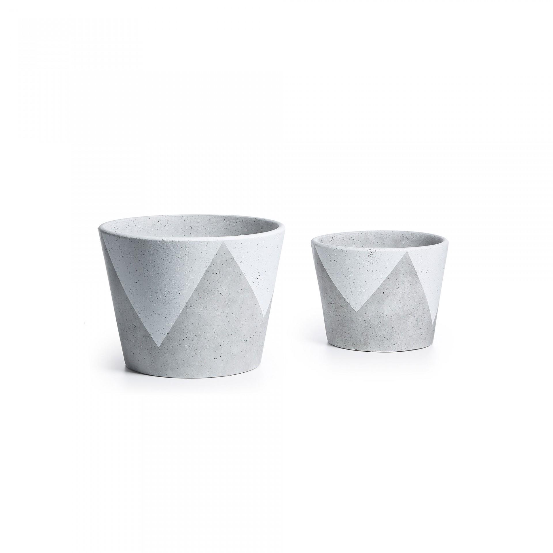 Vasos Geo, cerâmica, branco/cinza, (Conj.2)