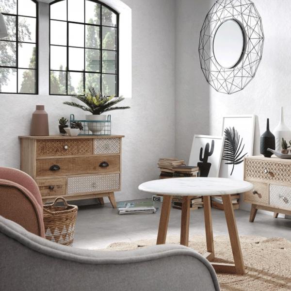 Mesa de apoio Haia, madeira de manga/mármore branco, Ø50x35