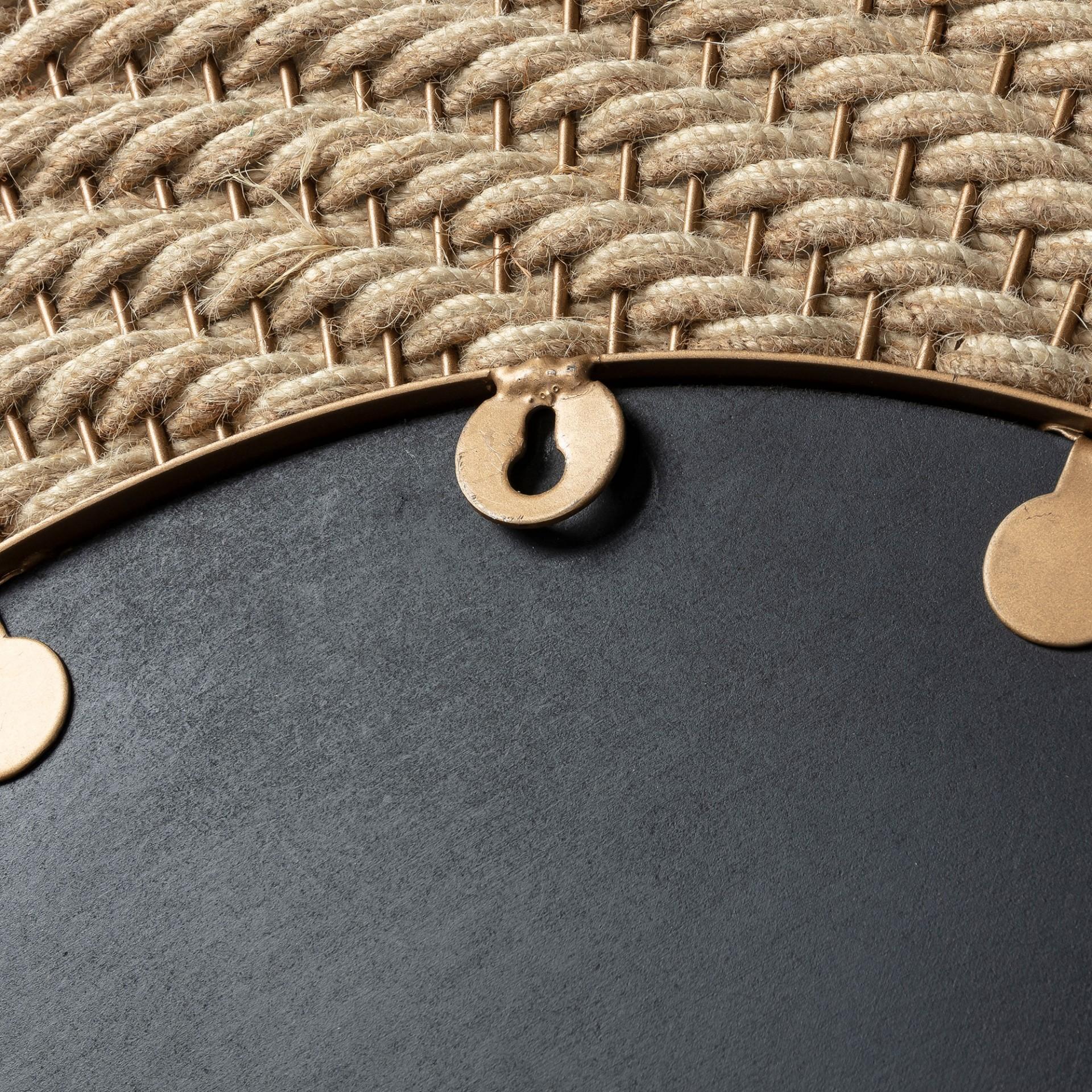 Espelho Roseberg, corda/metal, dourado, Ø80cm