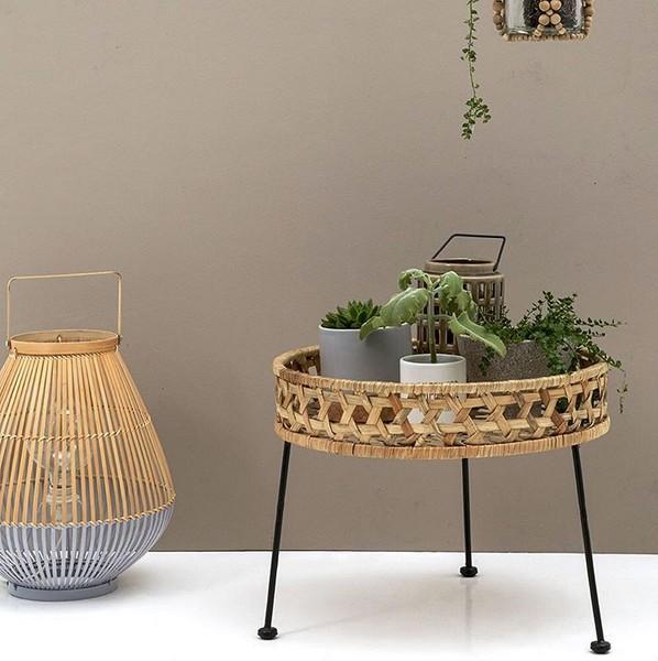 Mesa de apoio Flora, vime natural, Ø50x40