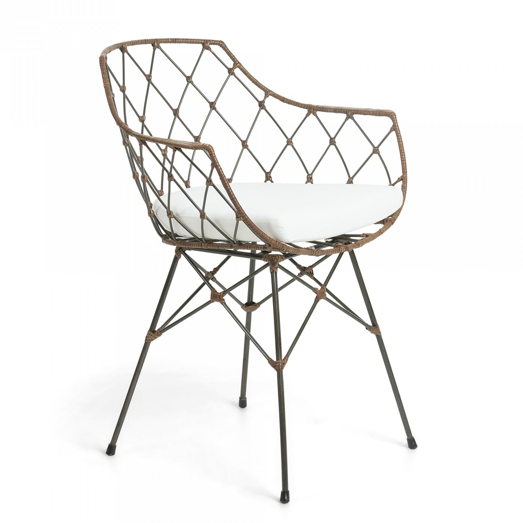 Cadeira Lux, c/almofada, metal/vime