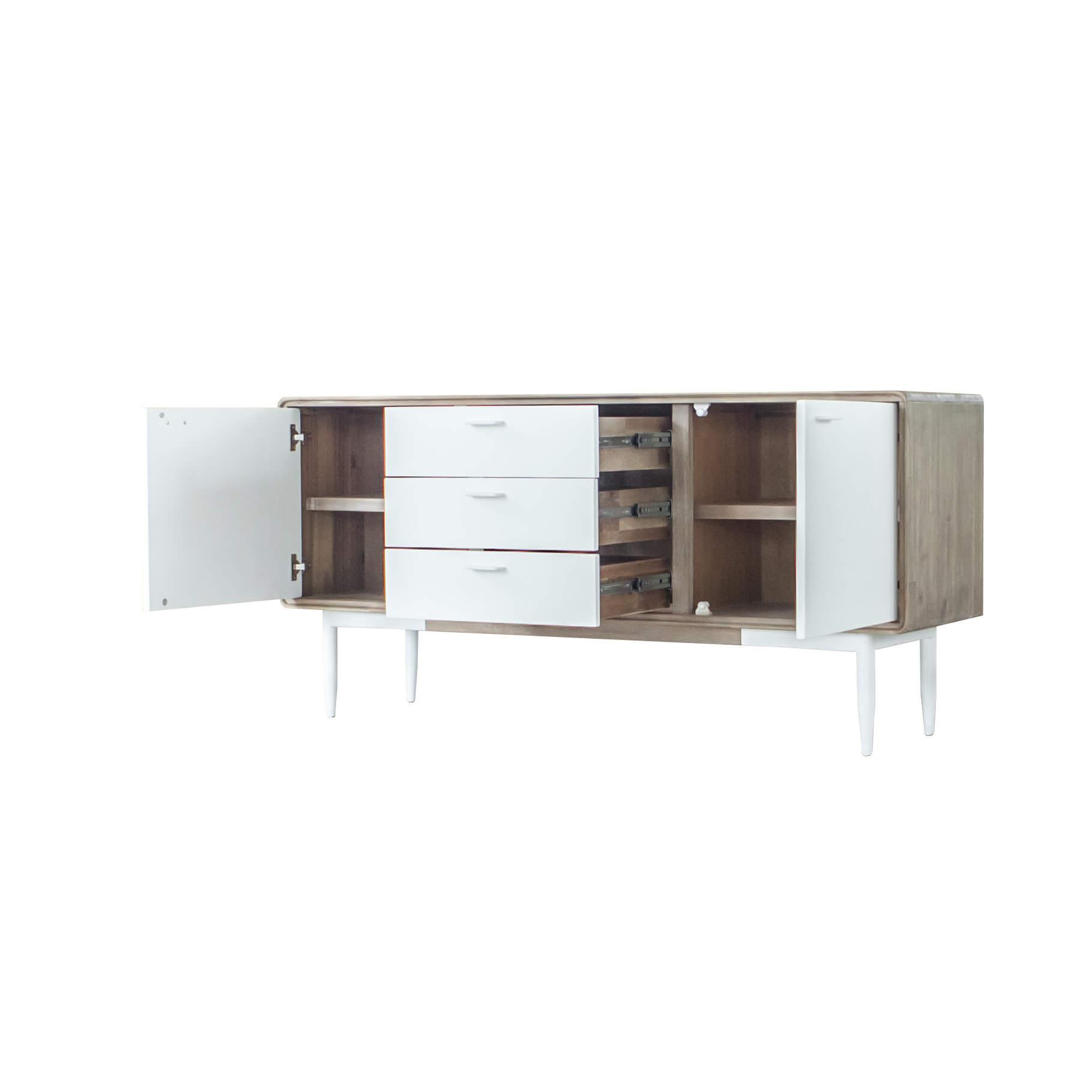 Aparador Florence, madeira de acácia/MDF lacado, 160x75