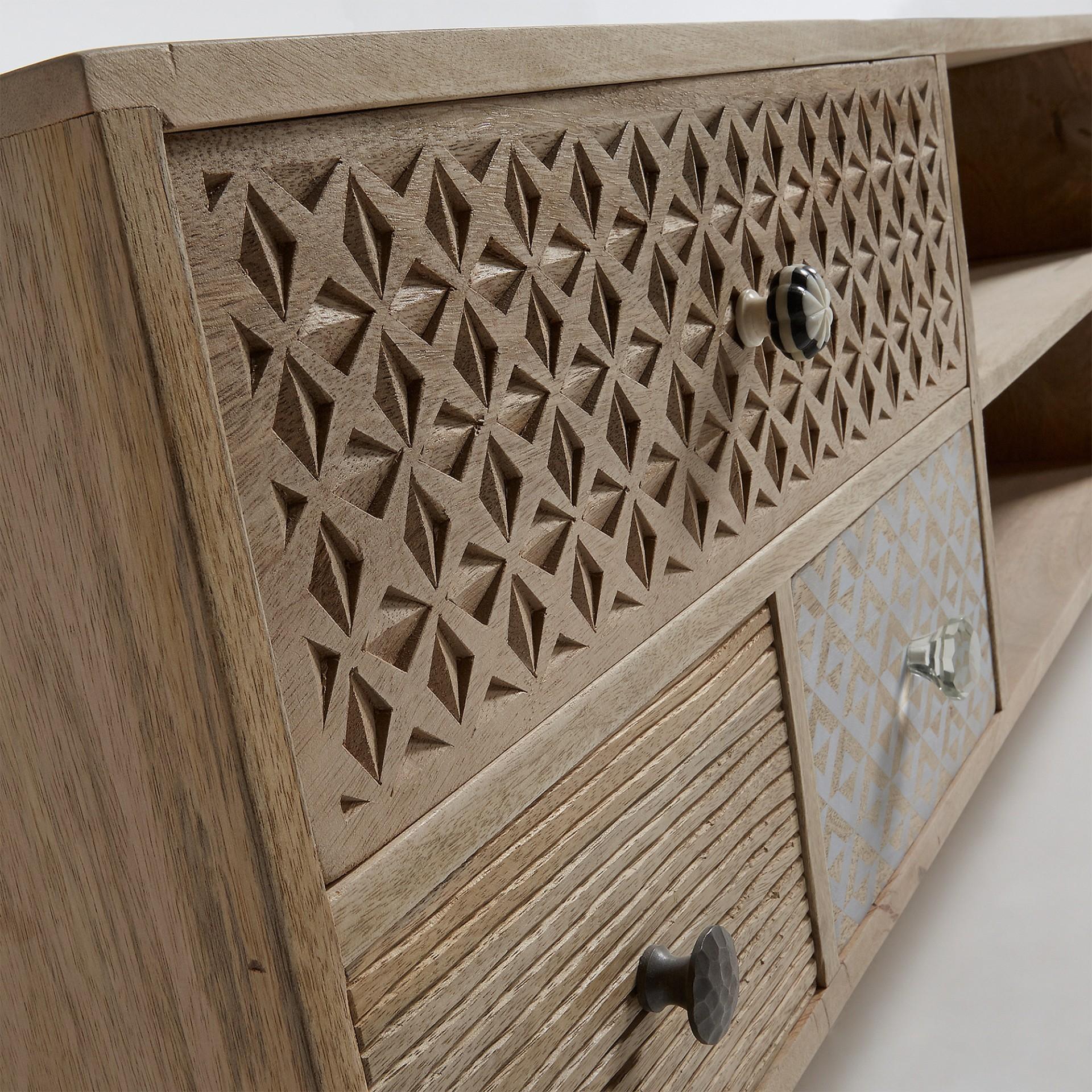 Móvel TV Hood, madeira de manga, 160x51