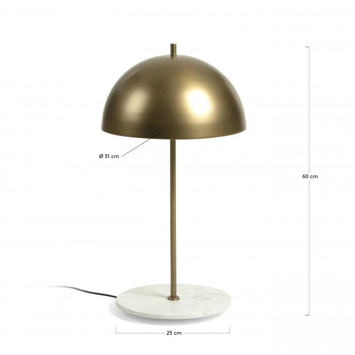 Candeeiro de mesa Glace, metal/mármore, dourado, Ø31x60