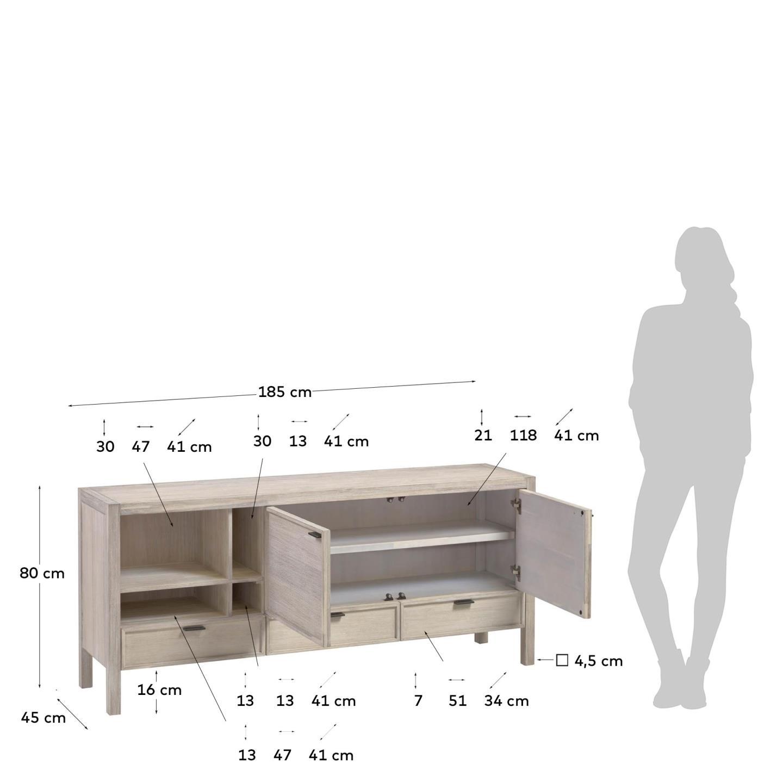 Aparador Aleni, madeira de acácia, 185x80