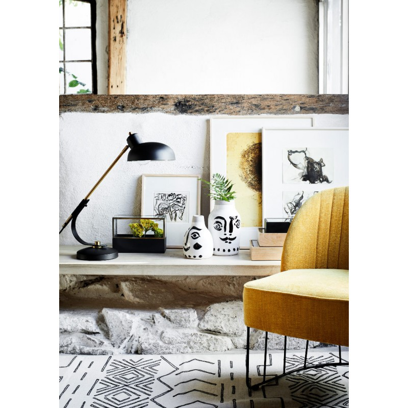 Tapete c/franjas, algodão, branco/preto, 230x160