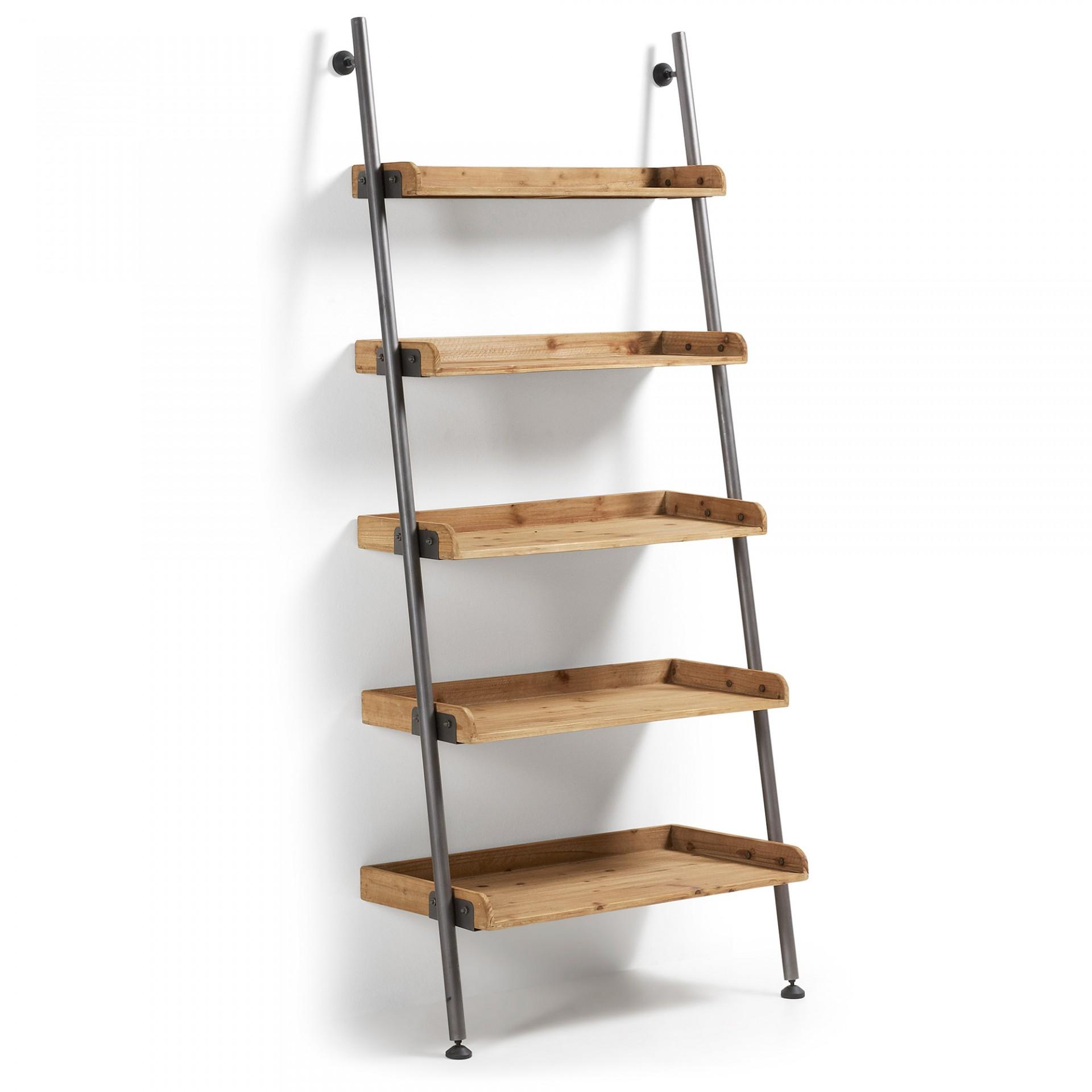 Estante em madeira de pinho abeto/metal, 86x200