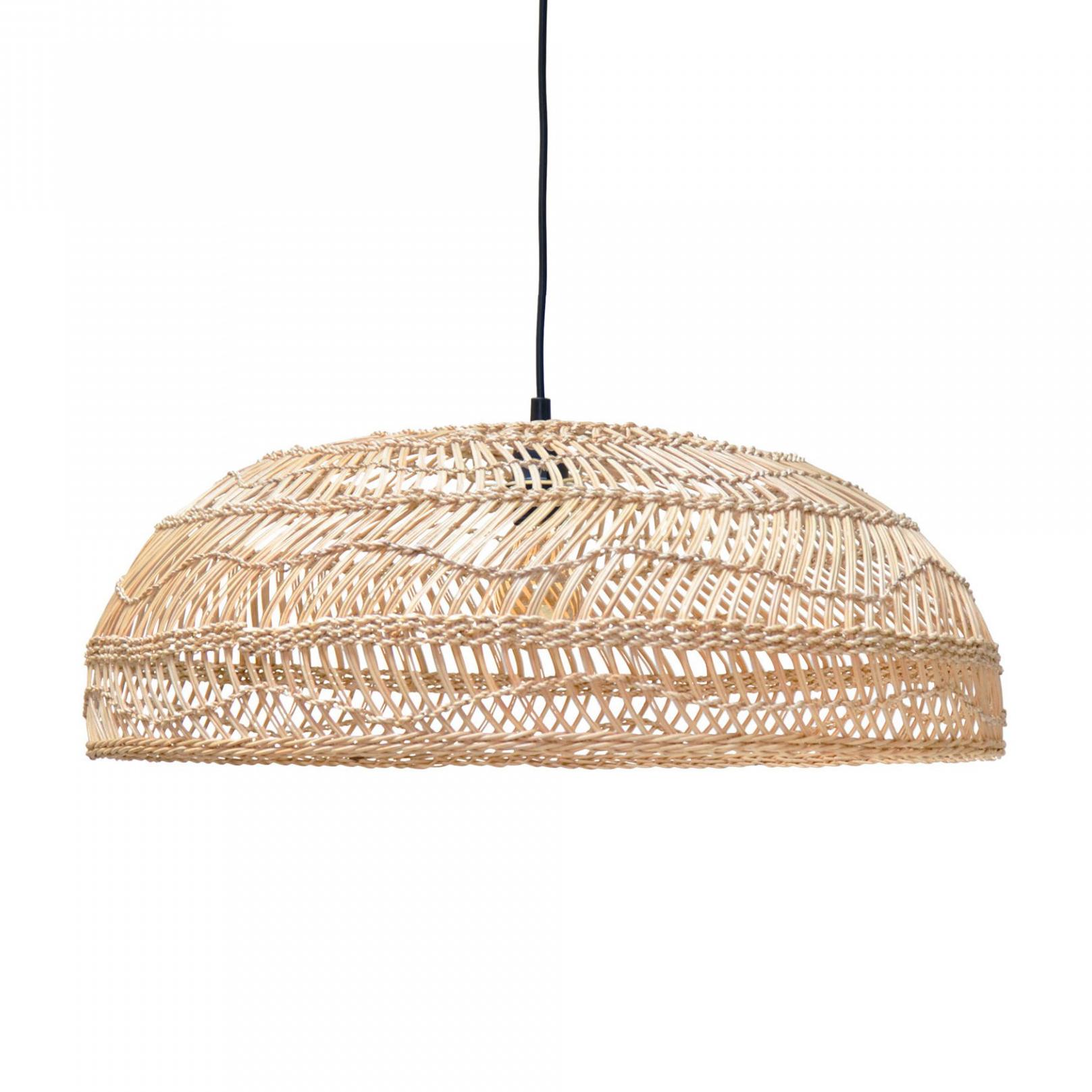 Candeeiro de tecto Baly, rattan natural, Ø60x20