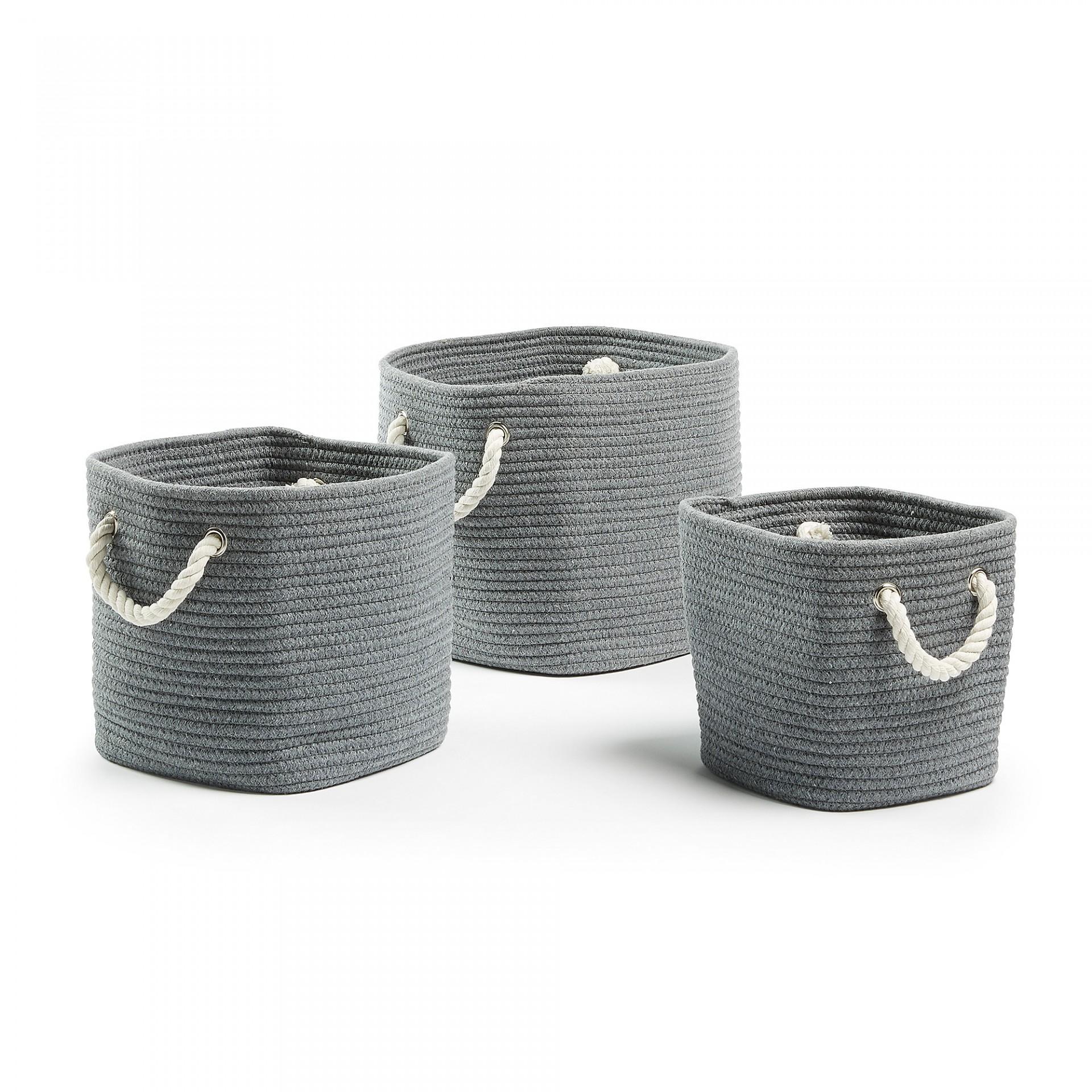 Cestas em corda de algodão, gris/branco, (Conj.3)