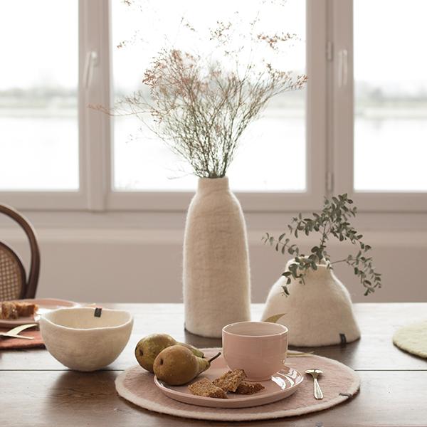 Jarra em lã de feltro, branco, Ø12x30