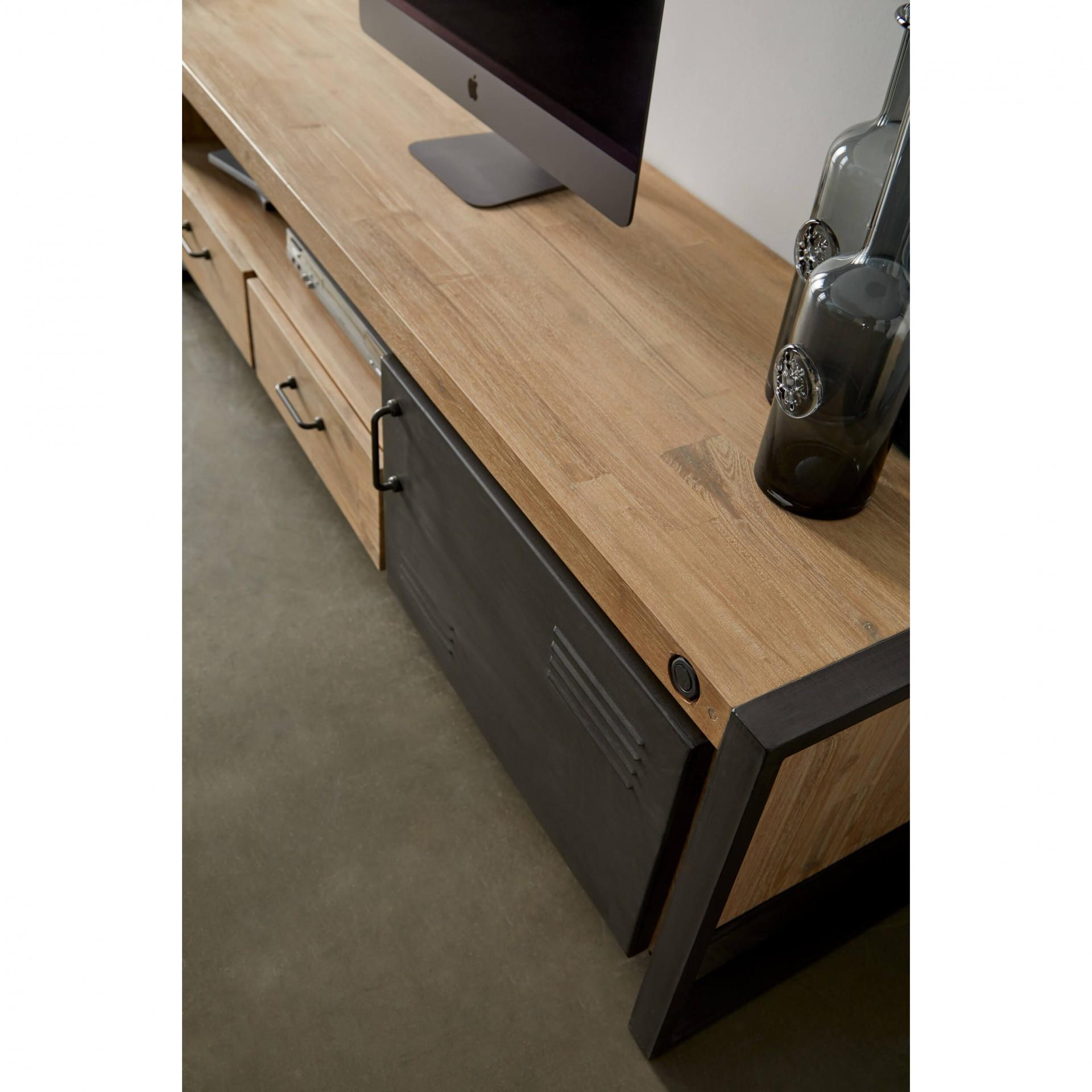 Móvel TV Boston, madeira de acácia/metal, 165x50