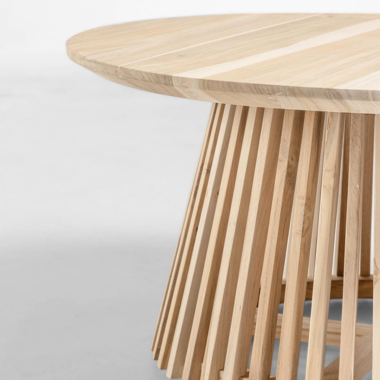 Mesa de centro Janette, madeira teca natural, Ø80x40