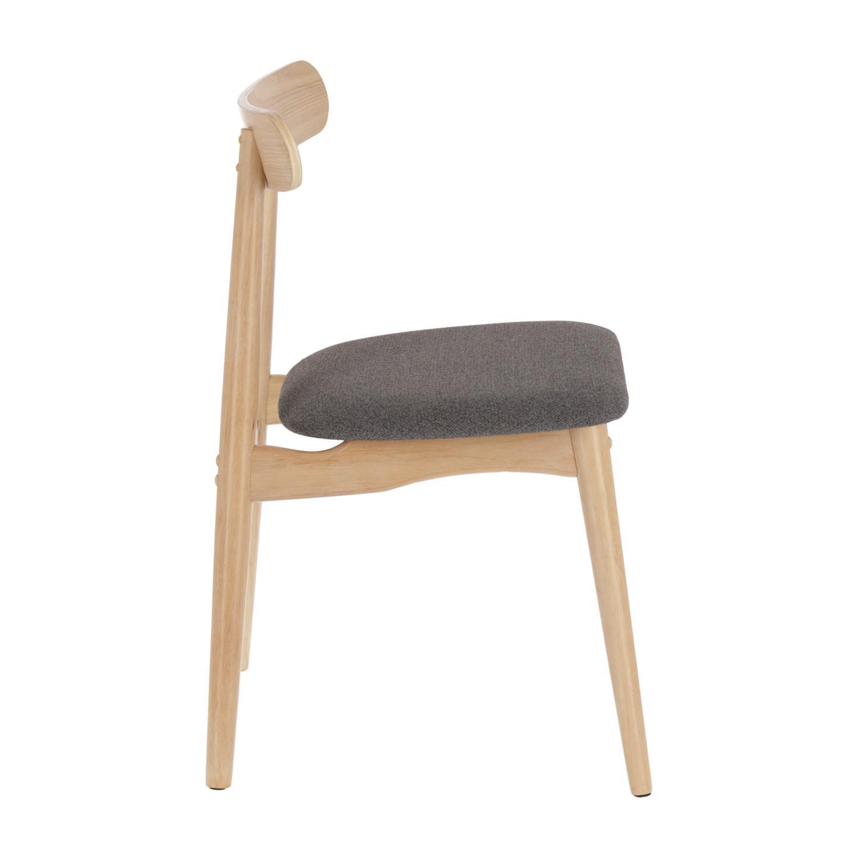 Cadeira Nima, madeira de seringueira, cinza escuro