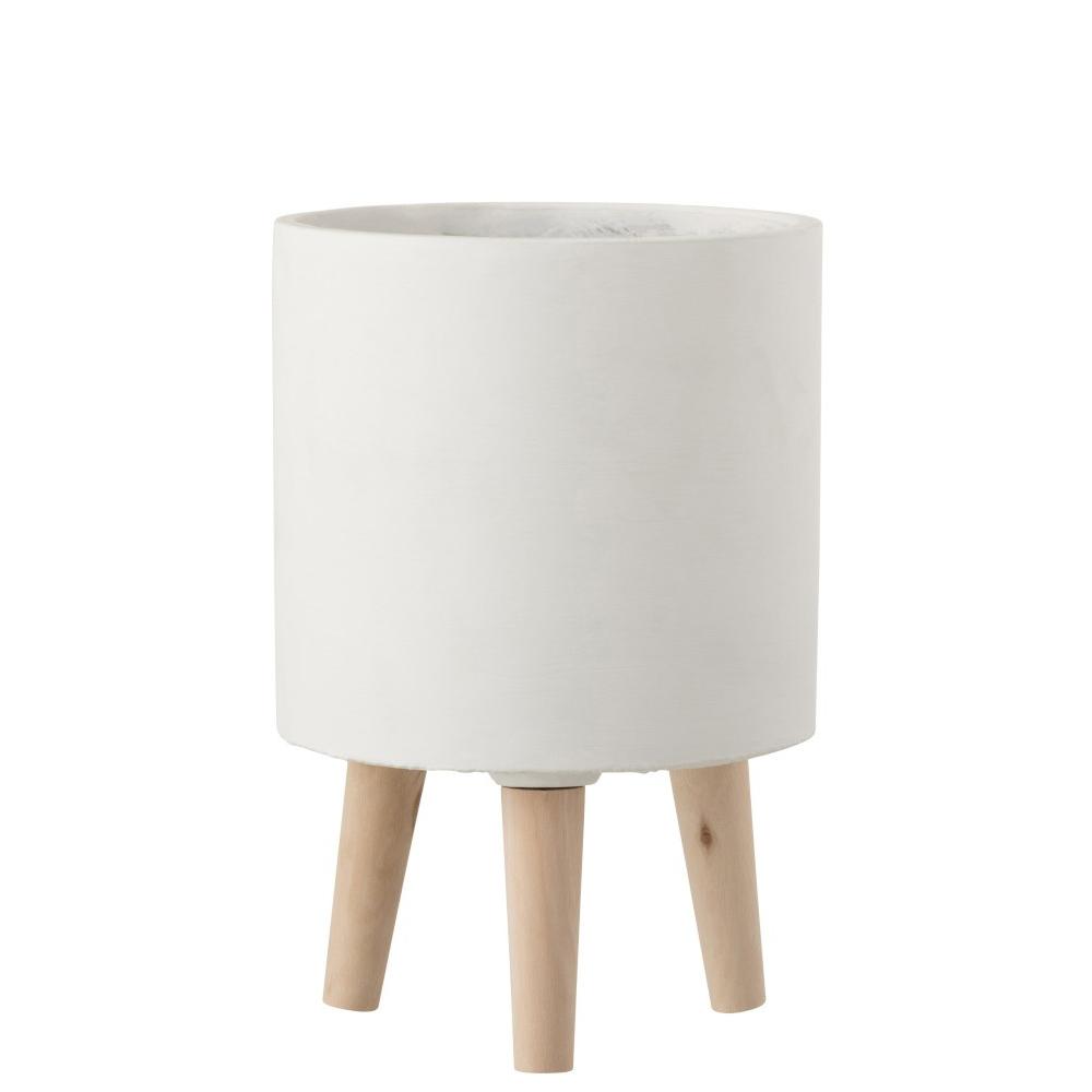 Vaso Poti, cimento/madeira, branco, Ø20x30