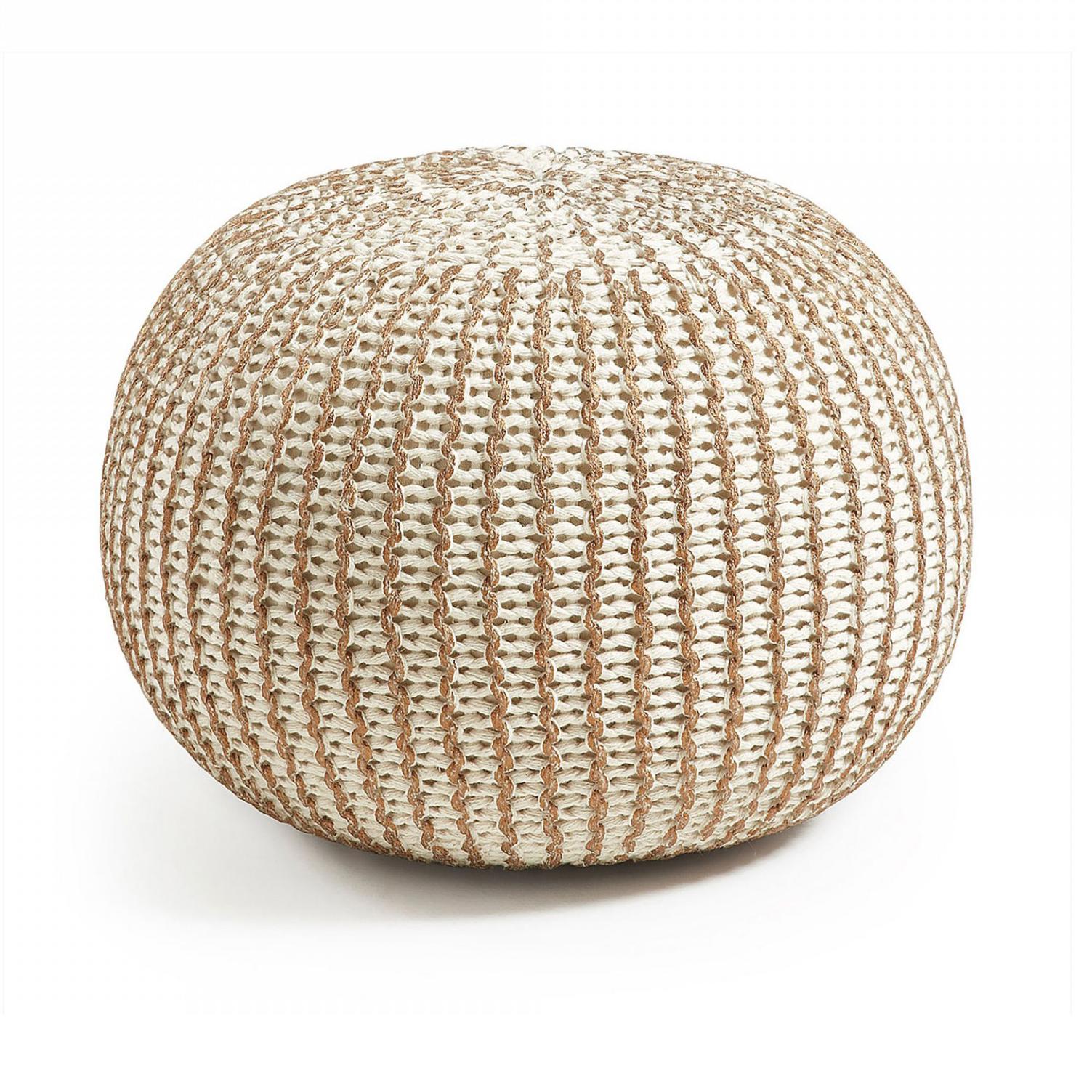 Pufe Suke, malha de croché, branco/dourado, Ø45x35
